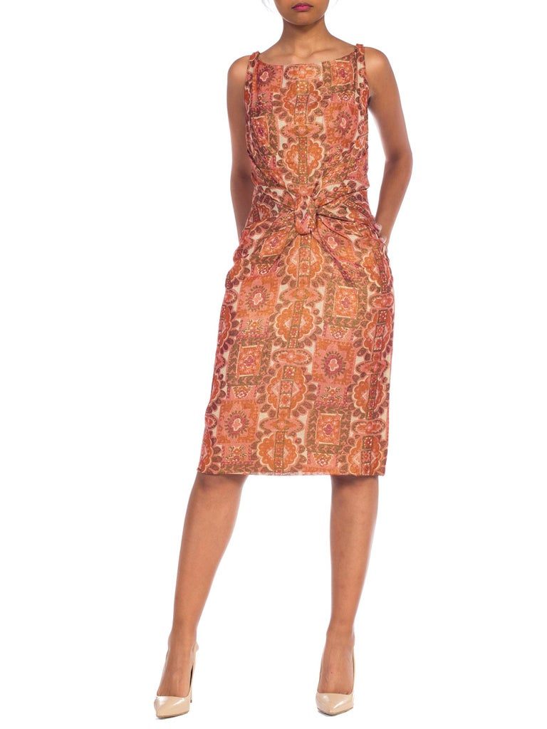 Late 1950s Fitted Metallic & Silk Low Back Dress For Sale 7