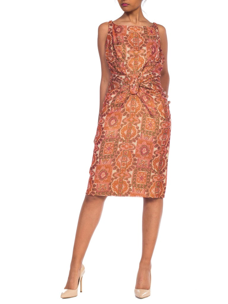 Late 1950s Fitted Metallic & Silk Low Back Dress For Sale 8