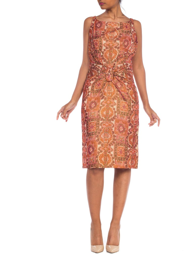 Late 1950s Fitted Metallic & Silk Low Back Dress For Sale 11