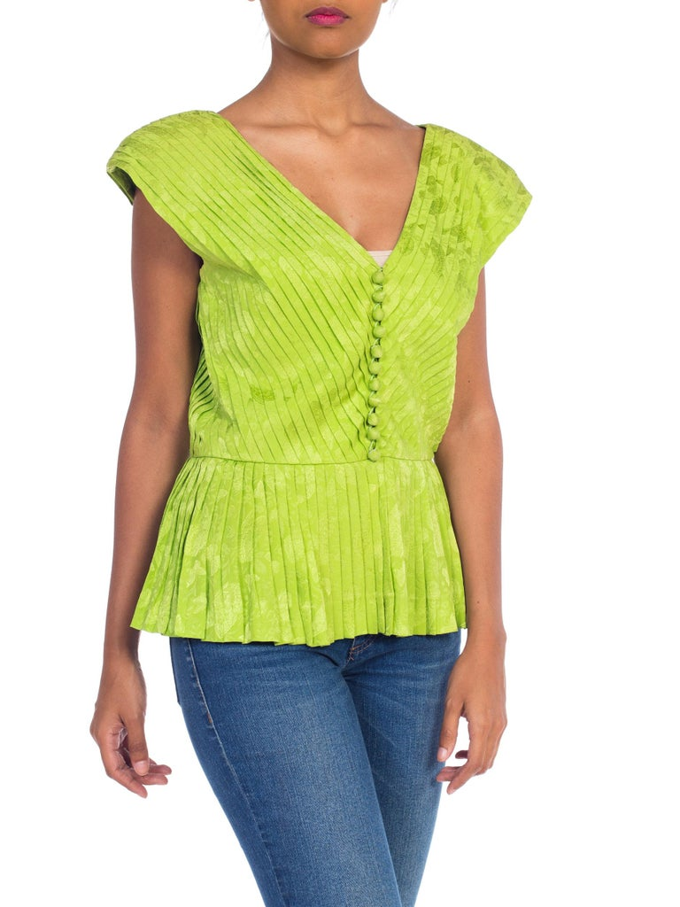Yellow 1970s Lanvin Couture Pleated Green Silk Blouse  For Sale