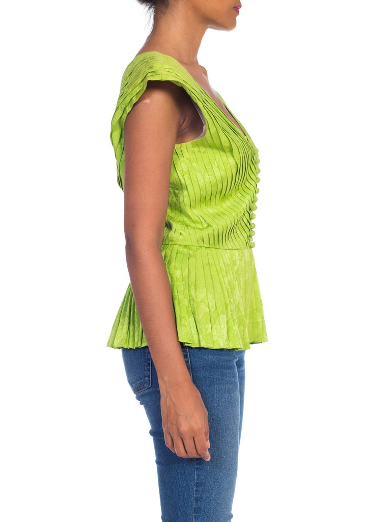 Women's 1970s Lanvin Couture Pleated Green Silk Blouse  For Sale