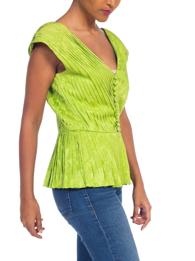 1970s Lanvin Couture Pleated Green Silk Blouse  For Sale 1