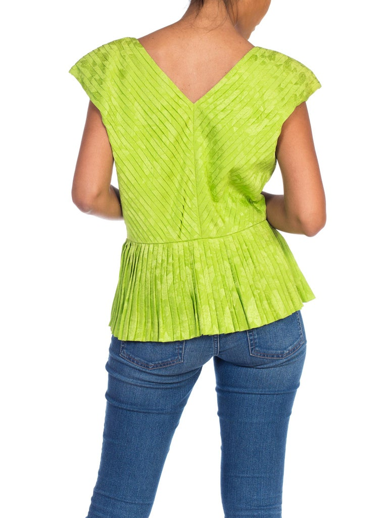 1970s Lanvin Couture Pleated Green Silk Blouse  For Sale 2