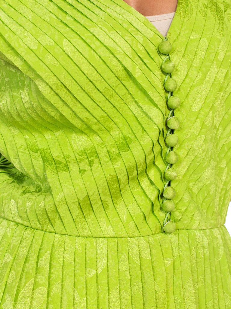 1970s Lanvin Couture Pleated Green Silk Blouse  For Sale 7