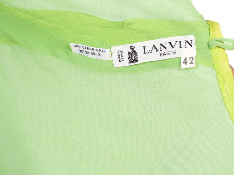 1970s Lanvin Couture Pleated Green Silk Blouse  For Sale 8