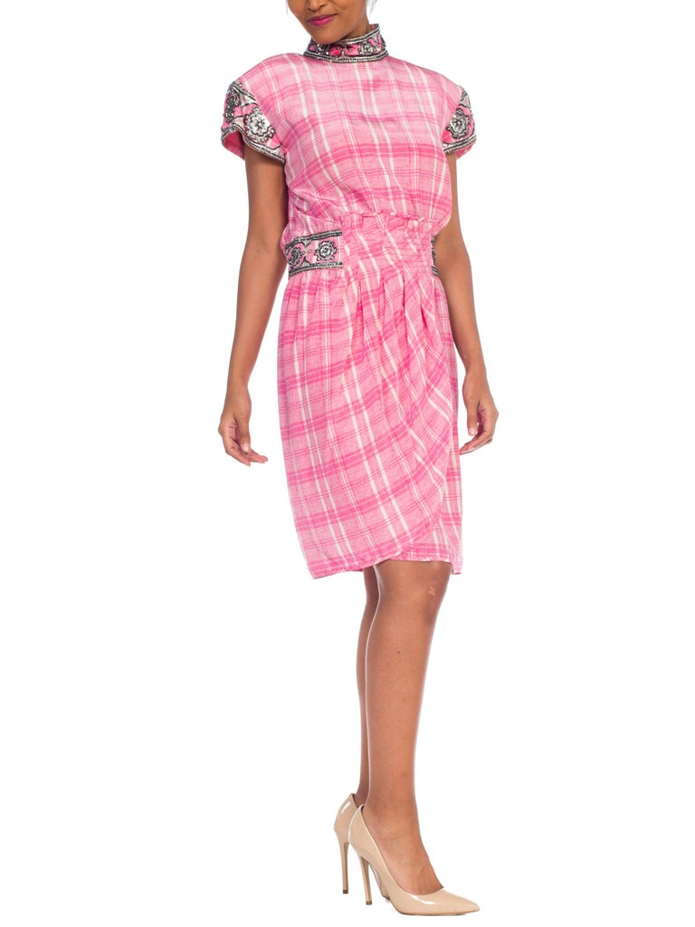 1980s Pink Plaid Silk Valentino Cocktail Dress With Crystals & Beading  In Excellent Condition For Sale In New York, NY