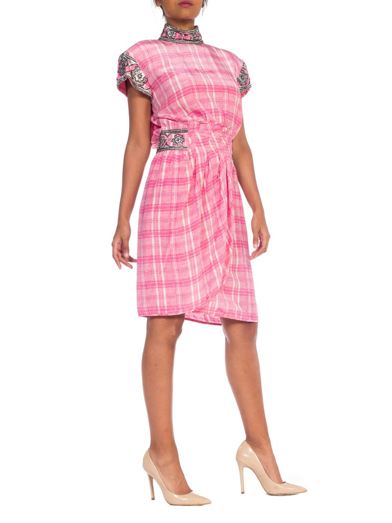 Women's 1980s Pink Plaid Silk Valentino Cocktail Dress With Crystals & Beading  For Sale