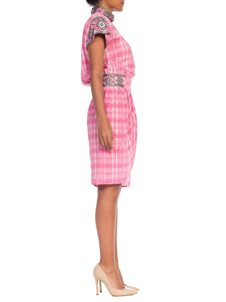 1980s Pink Plaid Silk Valentino Cocktail Dress With Crystals & Beading  For Sale 1