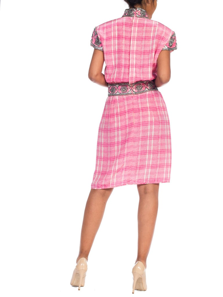 1980s Pink Plaid Silk Valentino Cocktail Dress With Crystals & Beading  For Sale 2