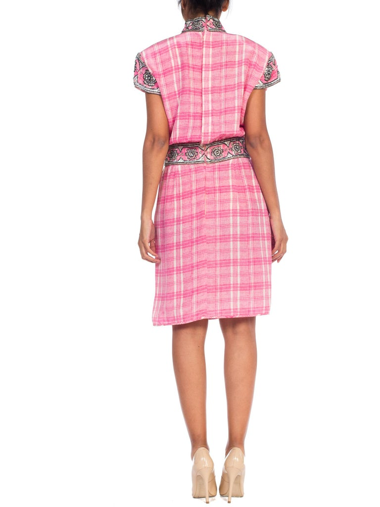 1980s Pink Plaid Silk Valentino Cocktail Dress With Crystals & Beading  For Sale 3