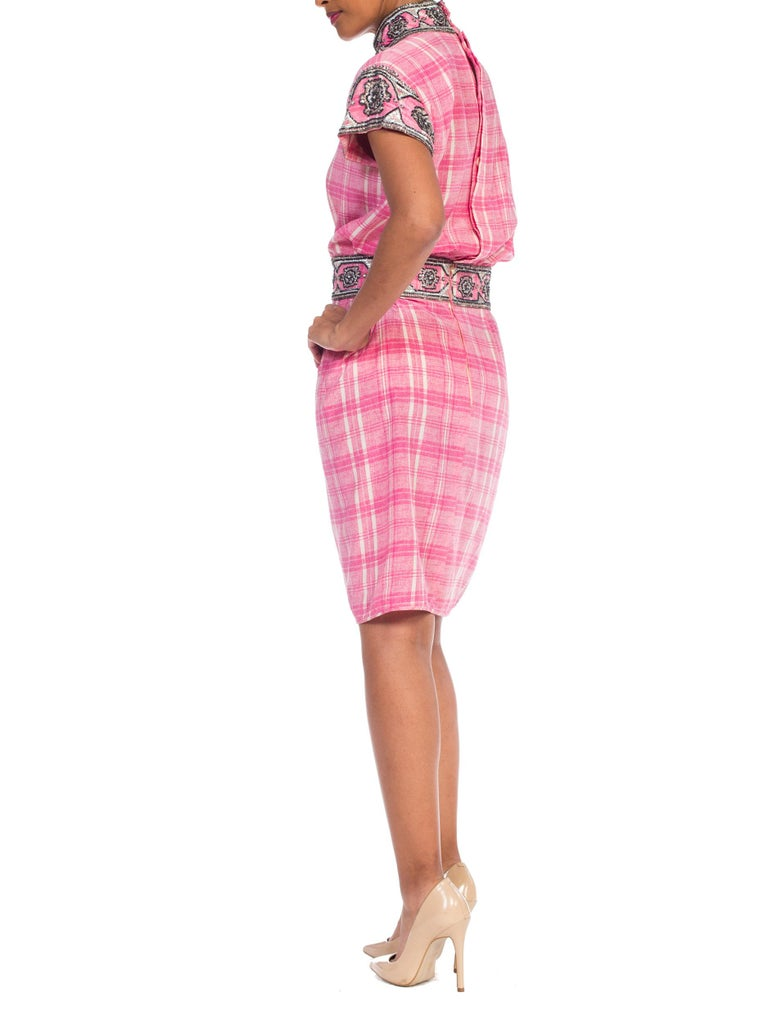 1980s Pink Plaid Silk Valentino Cocktail Dress With Crystals & Beading  For Sale 4