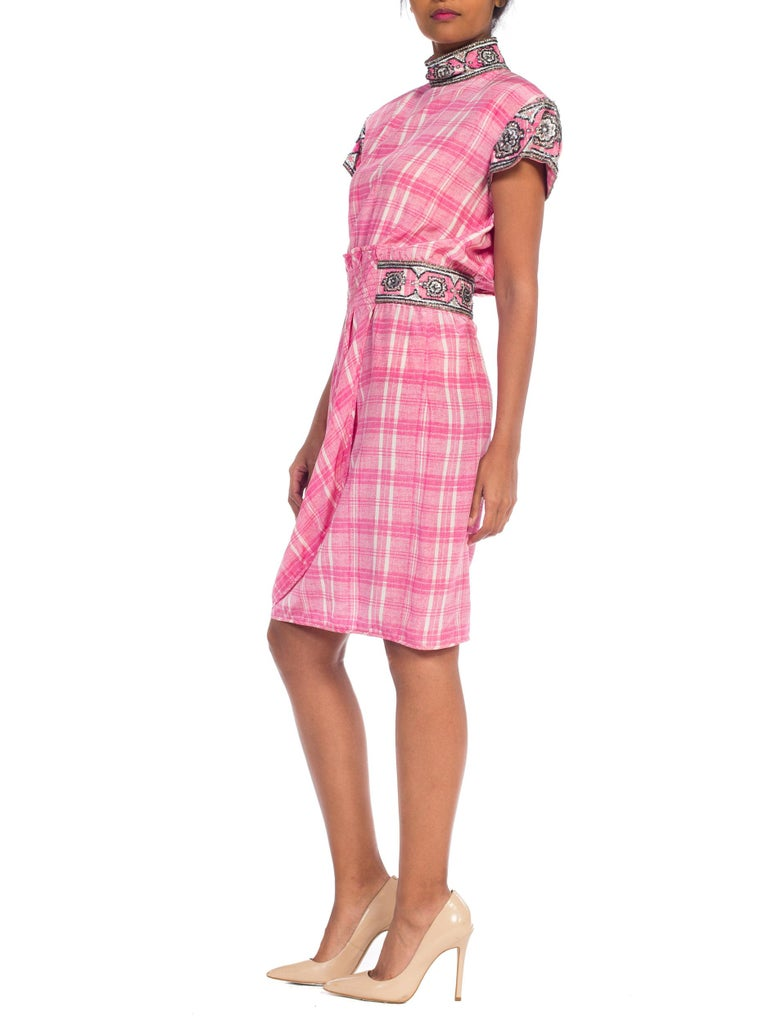1980s Pink Plaid Silk Valentino Cocktail Dress With Crystals & Beading  For Sale 5
