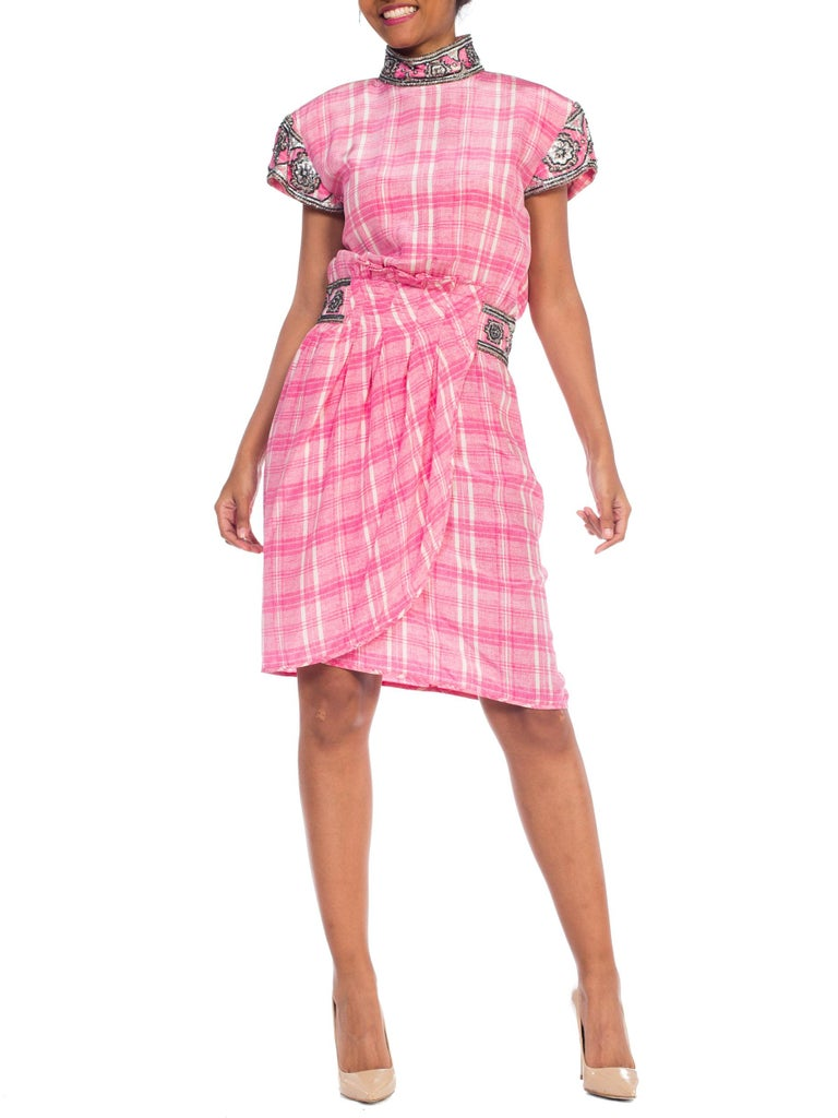 1980s Pink Plaid Silk Valentino Cocktail Dress With Crystals & Beading  For Sale 10
