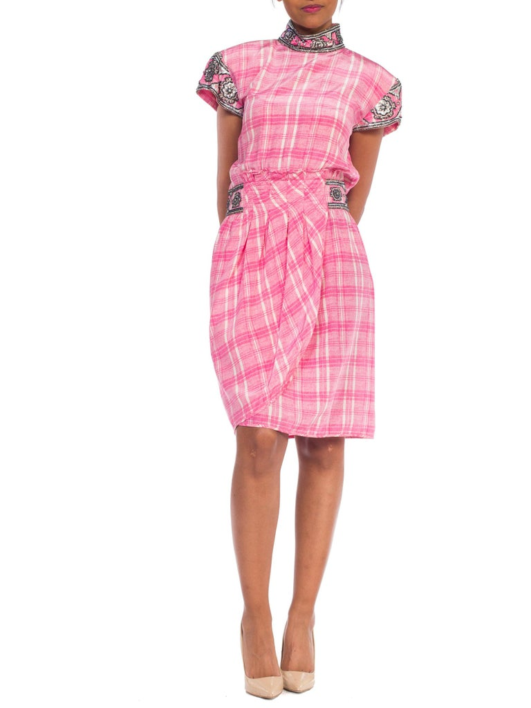 1980s Pink Plaid Silk Valentino Cocktail Dress With Crystals & Beading  For Sale 11