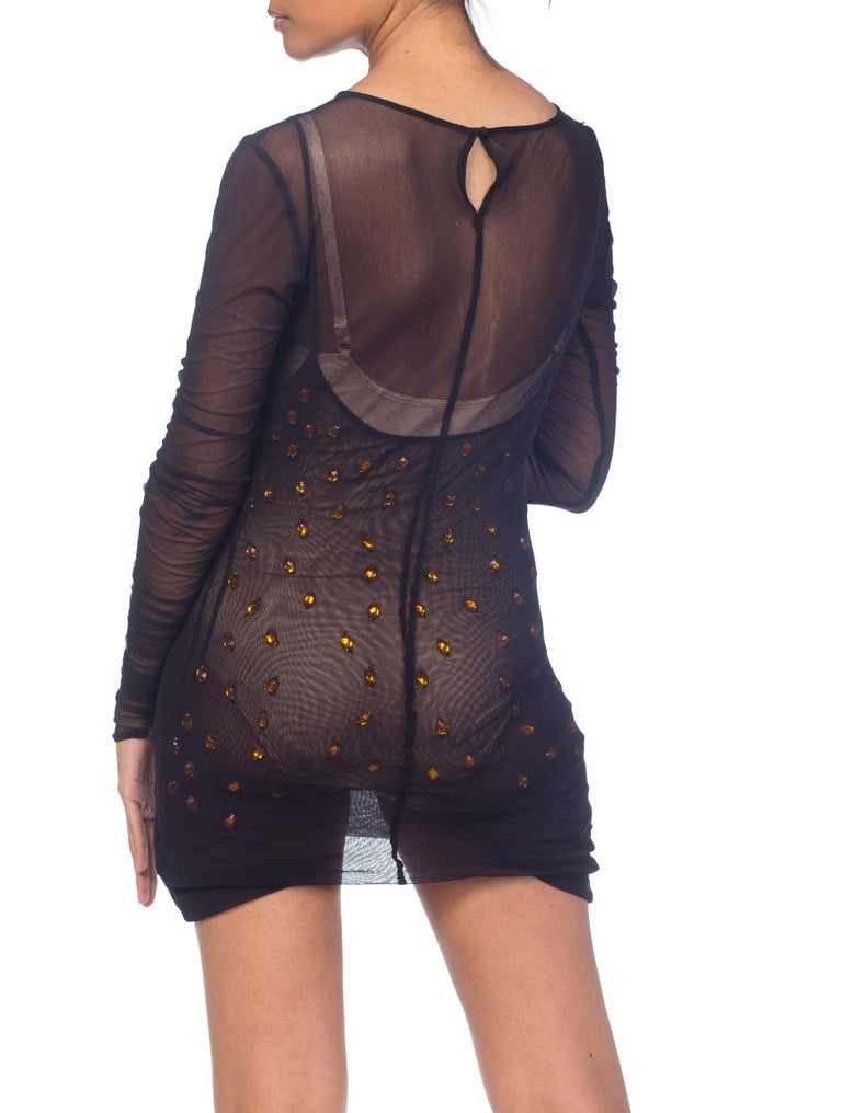 Dolce & Gabbana Sheer Mesh Dress With Crystals  For Sale 6