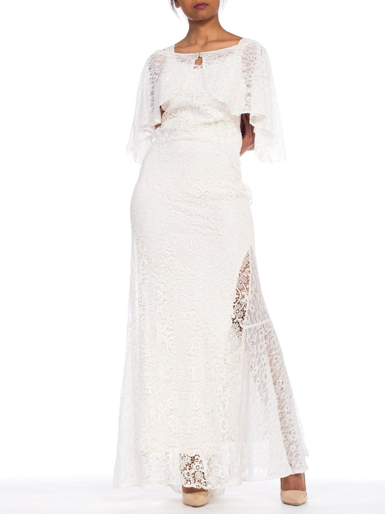 Women's Backless 1930s White Lace Gown with Lace Caplet and Victorian Lace Detail For Sale