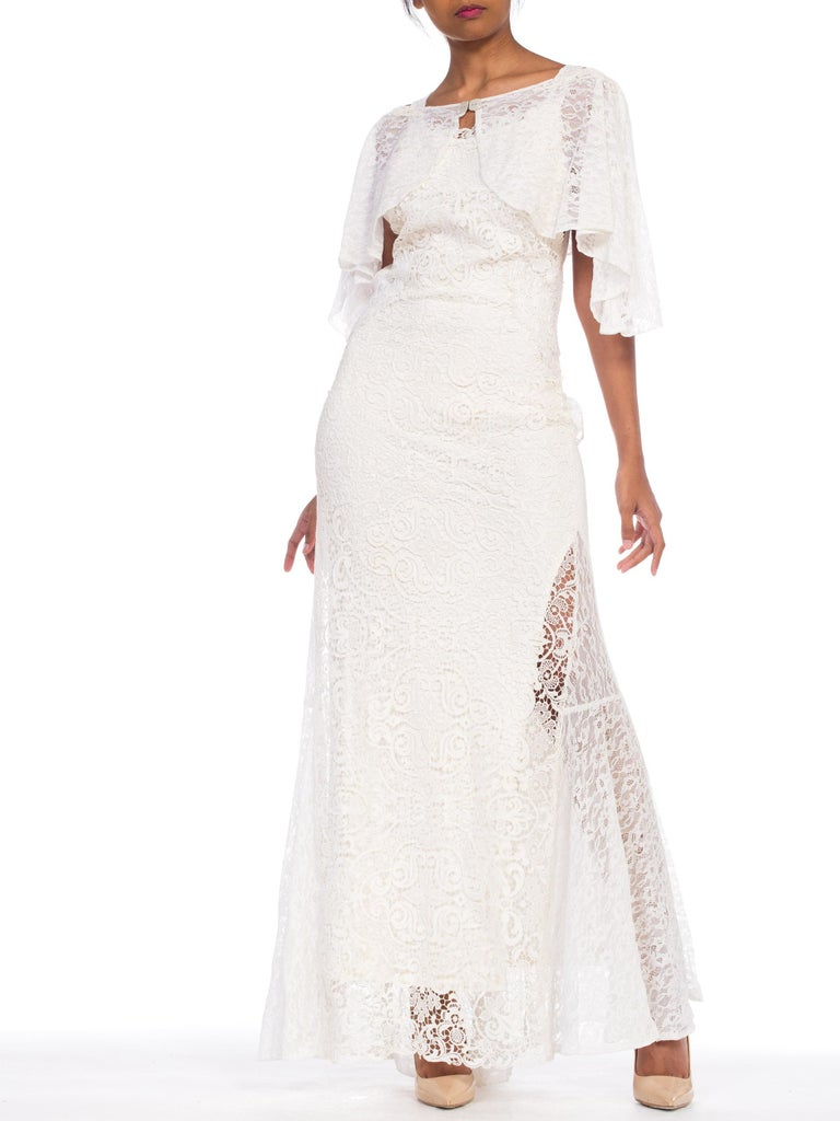 Backless 1930s White Lace Gown with Lace Caplet and Victorian Lace Detail For Sale 1