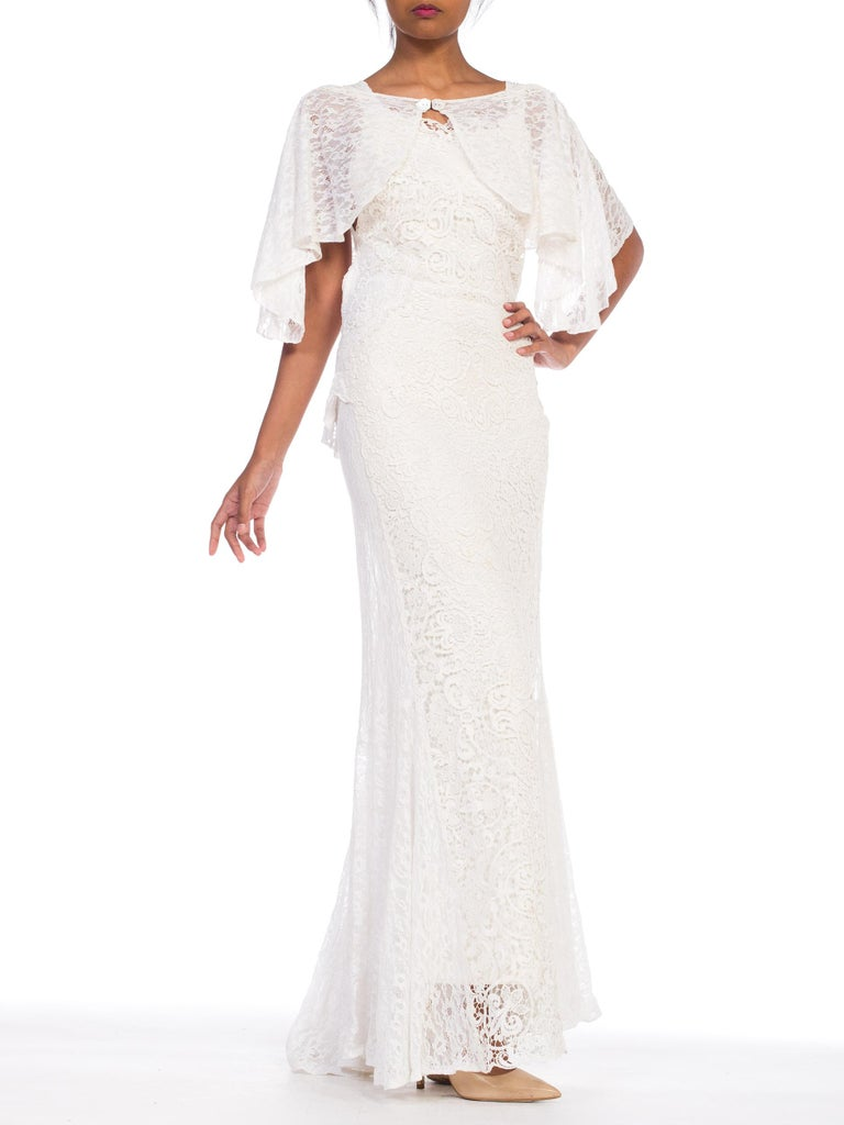 Backless 1930s White Lace Gown with Lace Caplet and Victorian Lace Detail For Sale 3