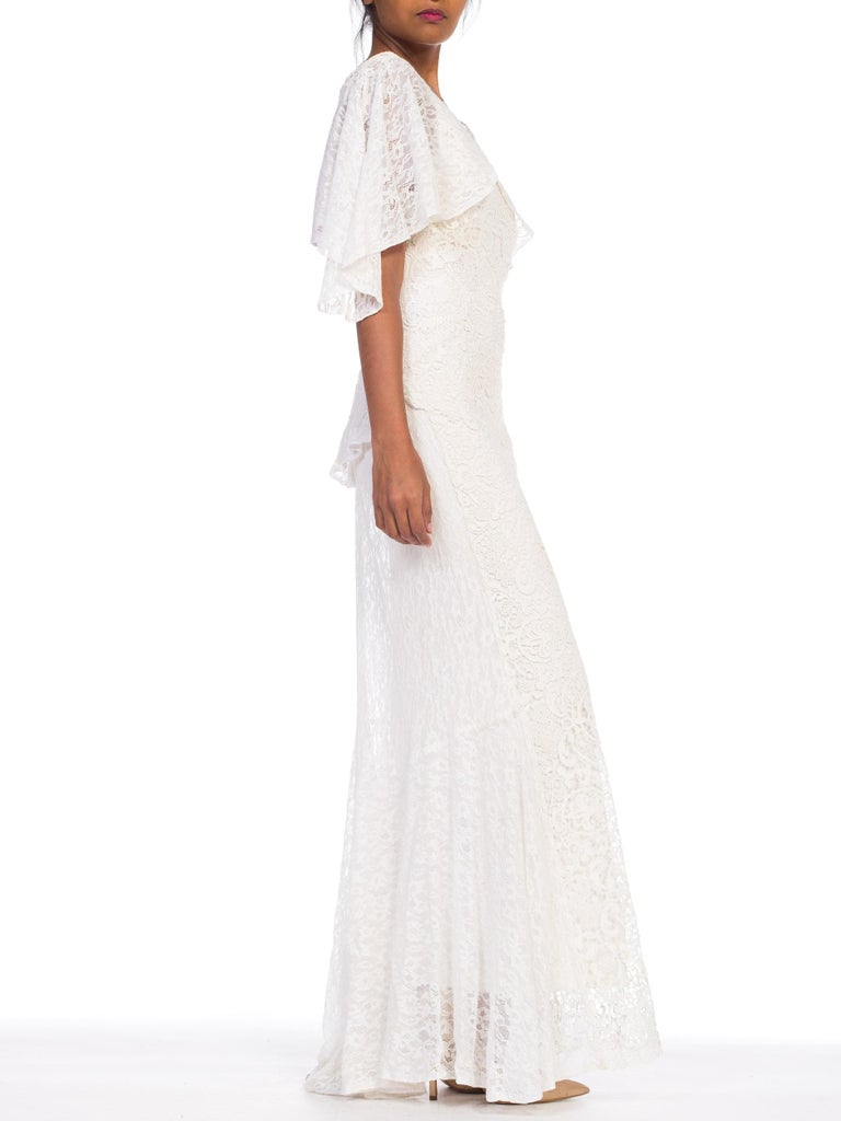 Backless 1930s White Lace Gown with Lace Caplet and Victorian Lace Detail For Sale 4