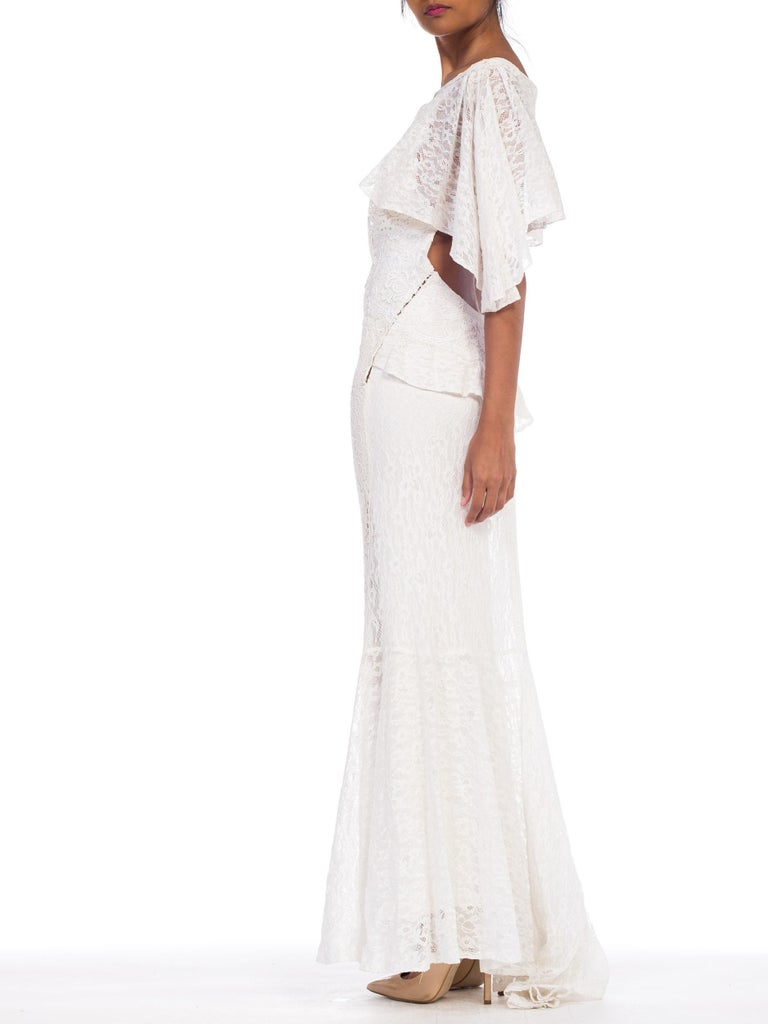 Backless 1930s White Lace Gown with Lace Caplet and Victorian Lace Detail For Sale 6