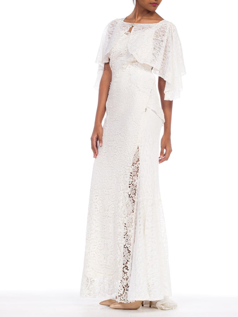 Backless 1930s White Lace Gown with Lace Caplet and Victorian Lace Detail For Sale 7