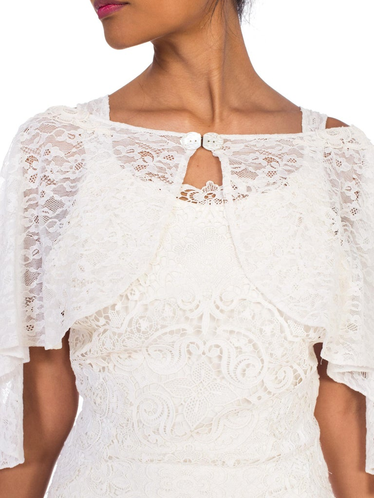 Backless 1930s White Lace Gown with Lace Caplet and Victorian Lace Detail For Sale 8