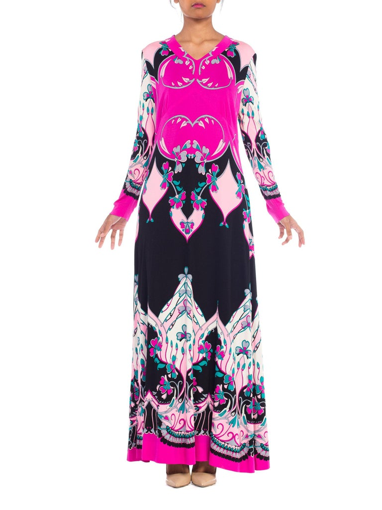 1970S ROLAND's OF ROME Pink  & Black Silk Jersey Pucci Leonard Style Long Sleev In Excellent Condition For Sale In New York, NY
