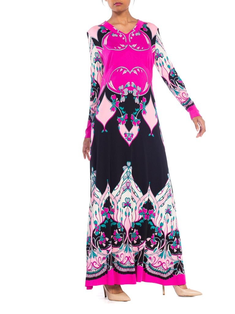 Women's 1970S ROLAND's OF ROME Pink  & Black Silk Jersey Pucci Leonard Style Long Sleev For Sale