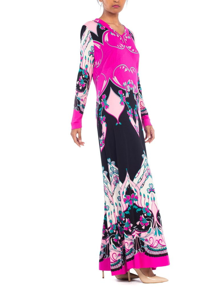 1970S ROLAND's OF ROME Pink  & Black Silk Jersey Pucci Leonard Style Long Sleeve Dress