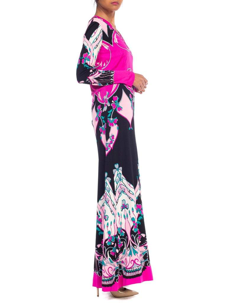 1970S ROLAND's OF ROME Pink  & Black Silk Jersey Pucci Leonard Style Long Sleev For Sale 1