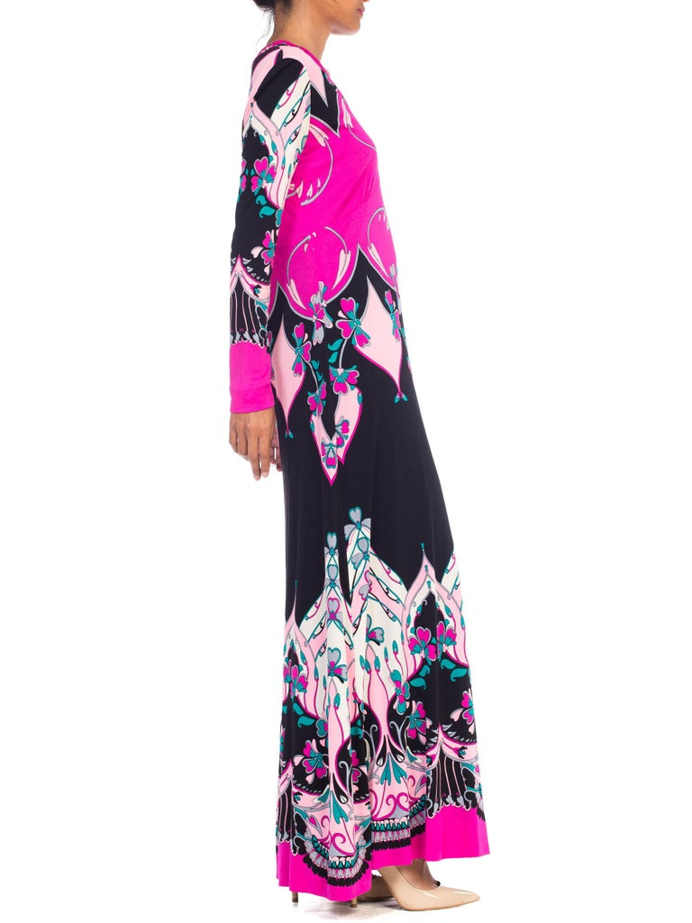 Purple 1970S ROLAND's OF ROME Pink  & Black Silk Jersey Pucci Leonard Style Long Sleev For Sale
