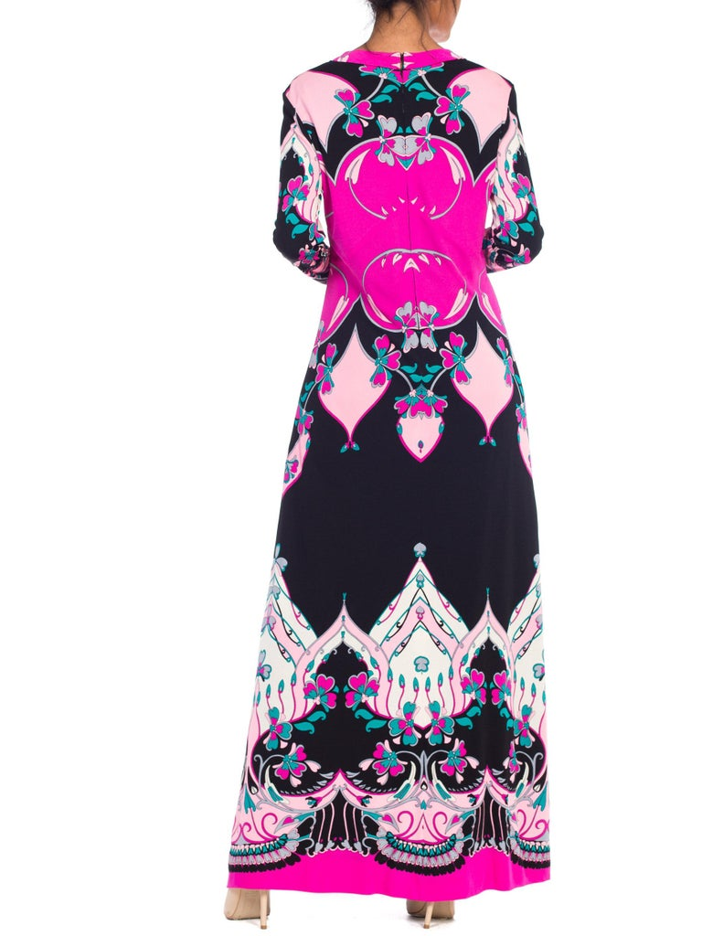 1970S ROLAND's OF ROME Pink  & Black Silk Jersey Pucci Leonard Style Long Sleev For Sale 2