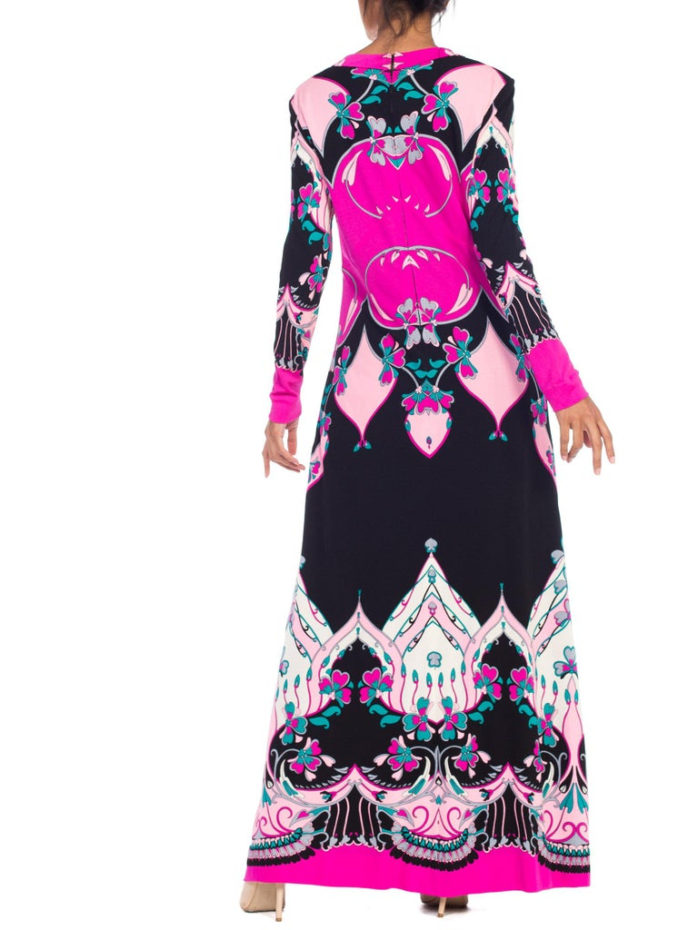 1970S ROLAND's OF ROME Pink  & Black Silk Jersey Pucci Leonard Style Long Sleev For Sale 3
