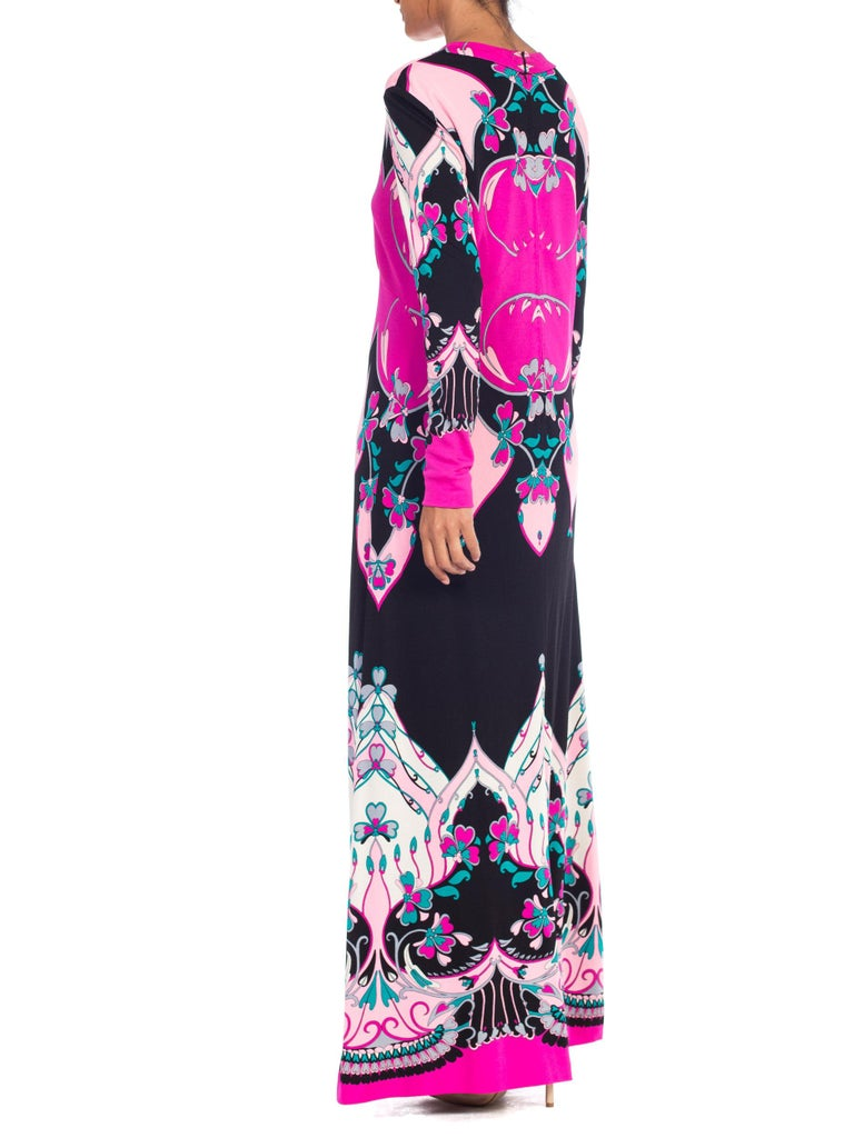 1970S ROLAND's OF ROME Pink  & Black Silk Jersey Pucci Leonard Style Long Sleev For Sale 4