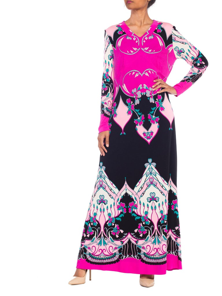 1970S ROLAND's OF ROME Pink  & Black Silk Jersey Pucci Leonard Style Long Sleev For Sale 5