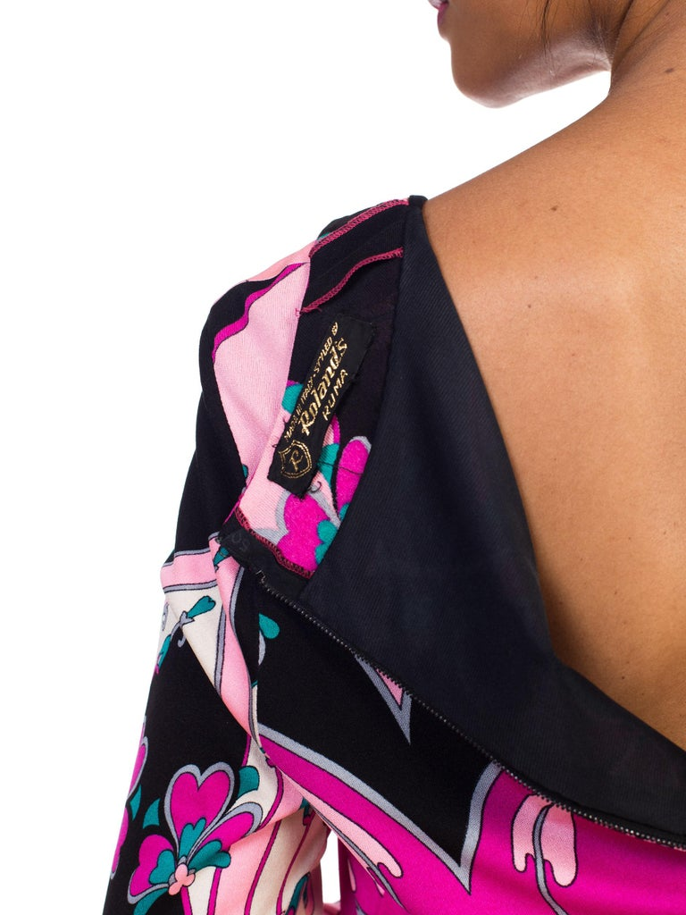 1970S ROLAND's OF ROME Pink  & Black Silk Jersey Pucci Leonard Style Long Sleev For Sale 6