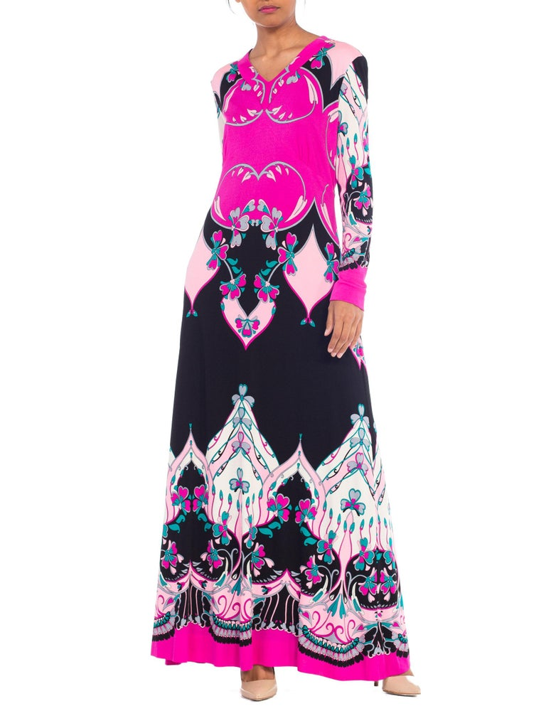 1970S ROLAND's OF ROME Pink  & Black Silk Jersey Pucci Leonard Style Long Sleev For Sale 7
