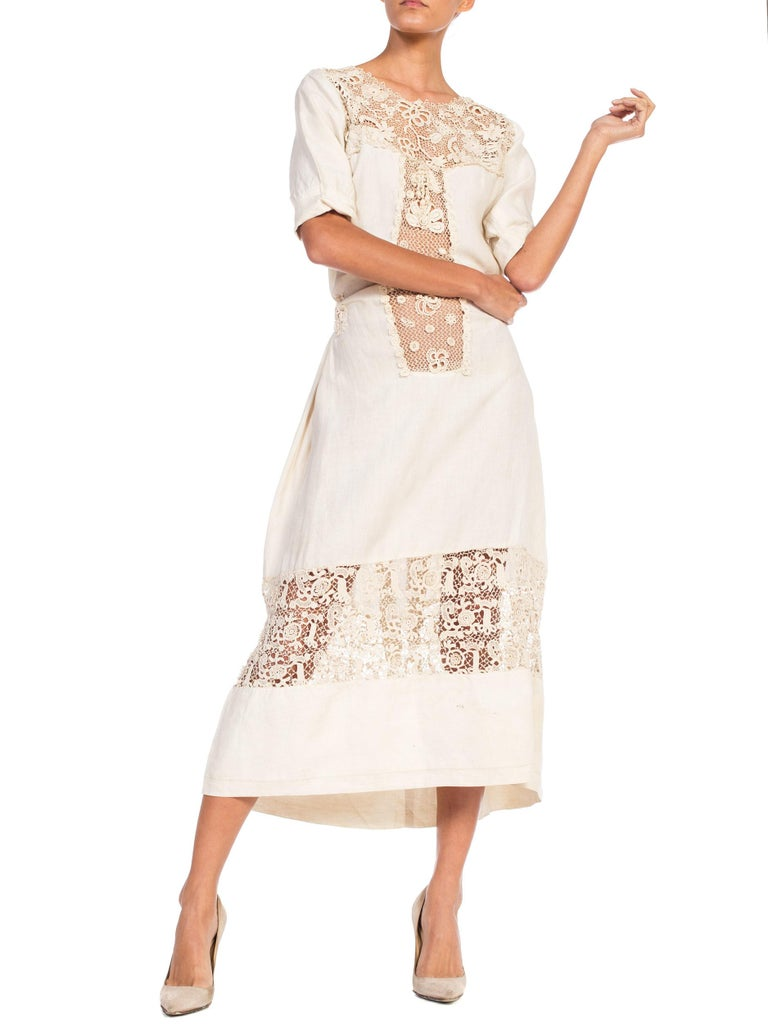 Beige Edwardian Organic Linen Dress With Irish Crochet Lace For Sale