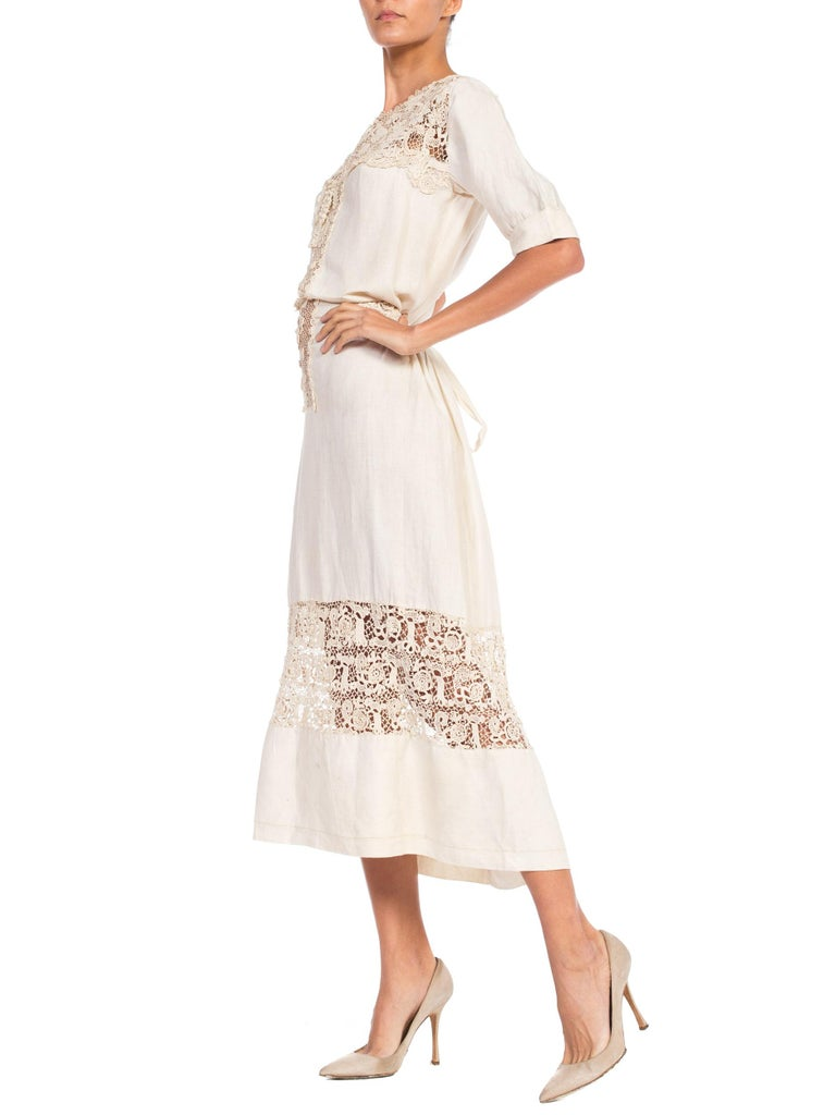 Edwardian Organic Linen Dress With Irish Crochet Lace In Good Condition For Sale In New York, NY