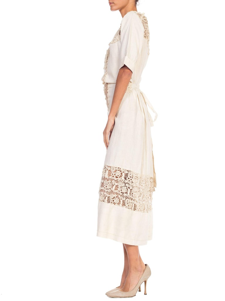Women's Edwardian Organic Linen Dress With Irish Crochet Lace For Sale