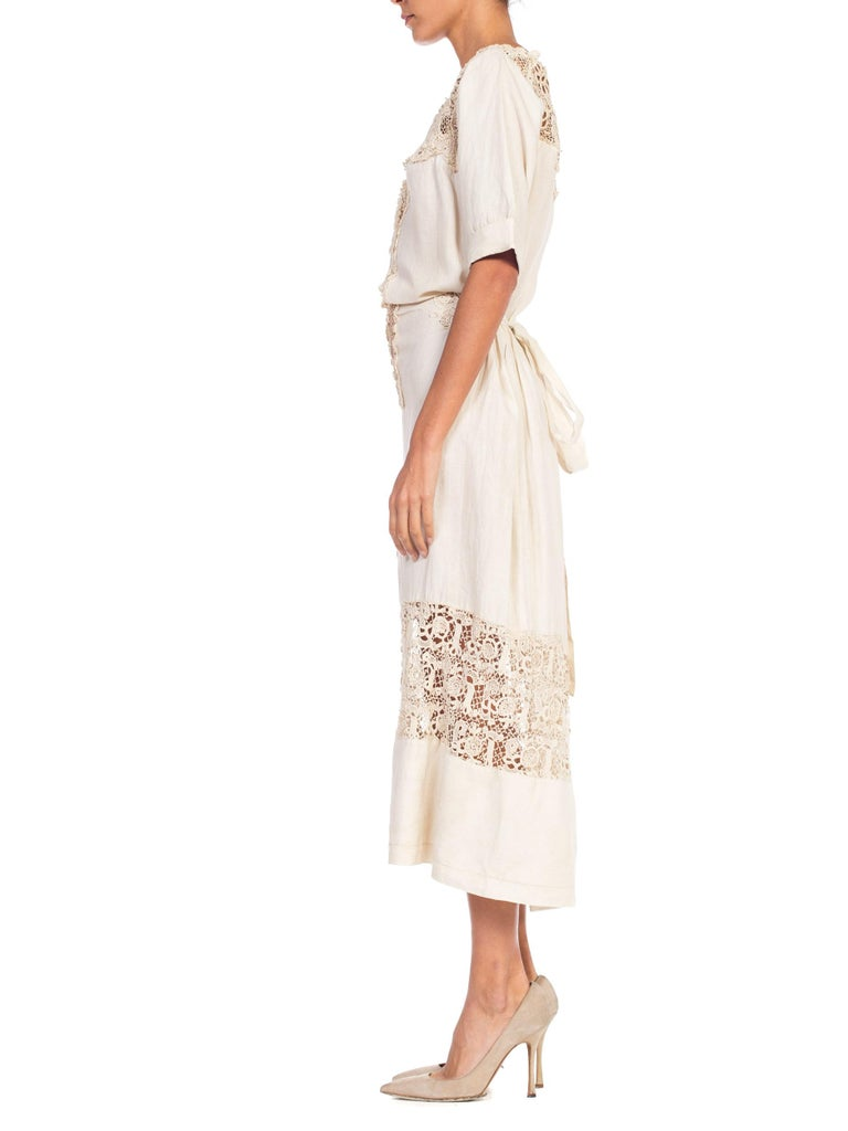 Edwardian Organic Linen Dress With Irish Crochet Lace For Sale 1