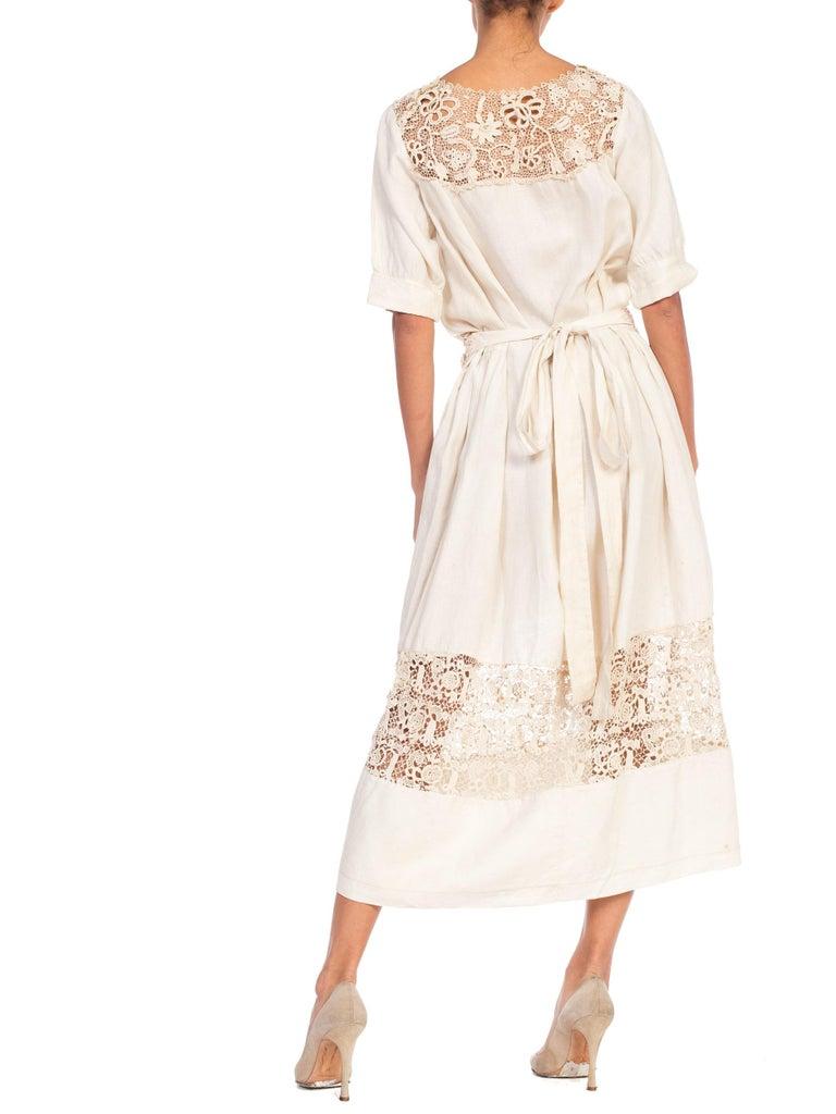 Edwardian Organic Linen Dress With Irish Crochet Lace For Sale 2