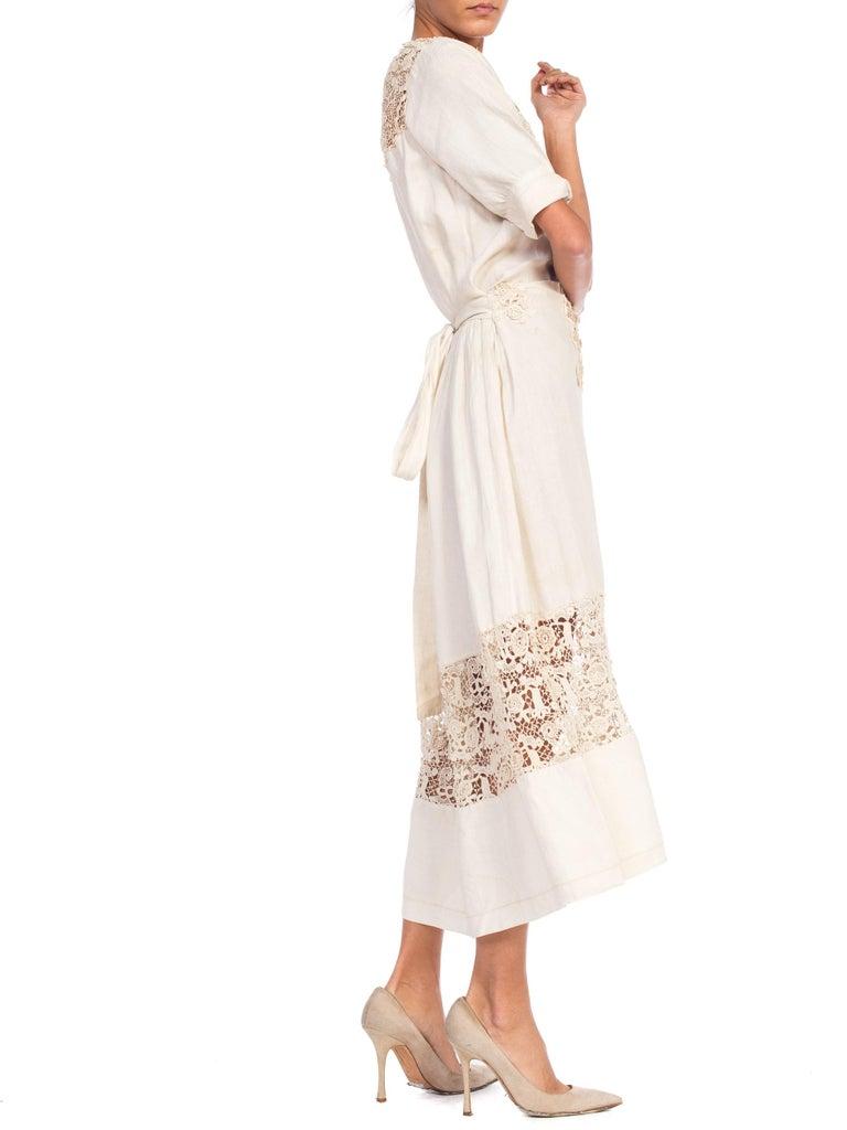 Edwardian Organic Linen Dress With Irish Crochet Lace For Sale 3