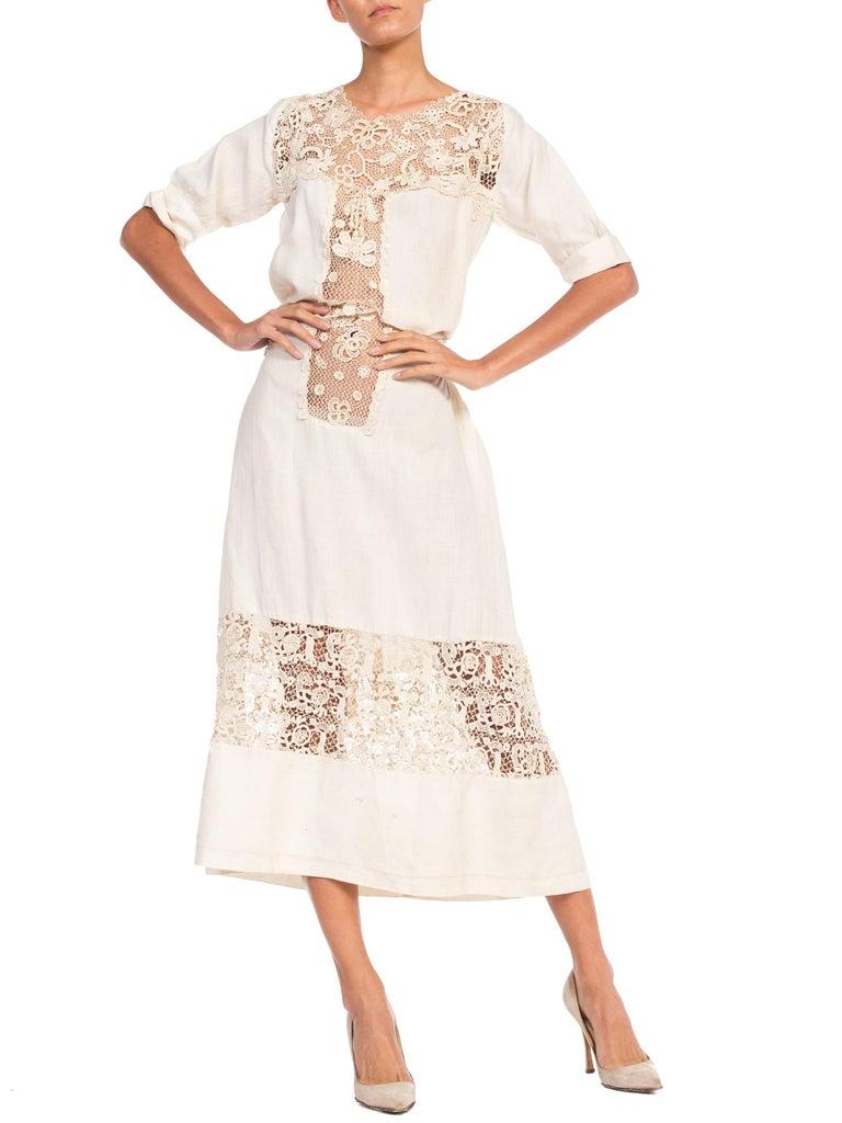 Edwardian Organic Linen Dress With Irish Crochet Lace For Sale 4