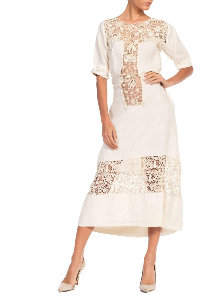 Edwardian Organic Linen Dress With Irish Crochet Lace For Sale 5