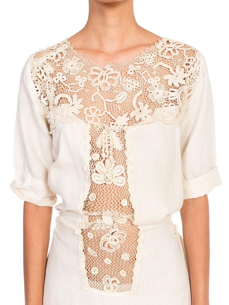Edwardian Organic Linen Dress With Irish Crochet Lace For Sale 6