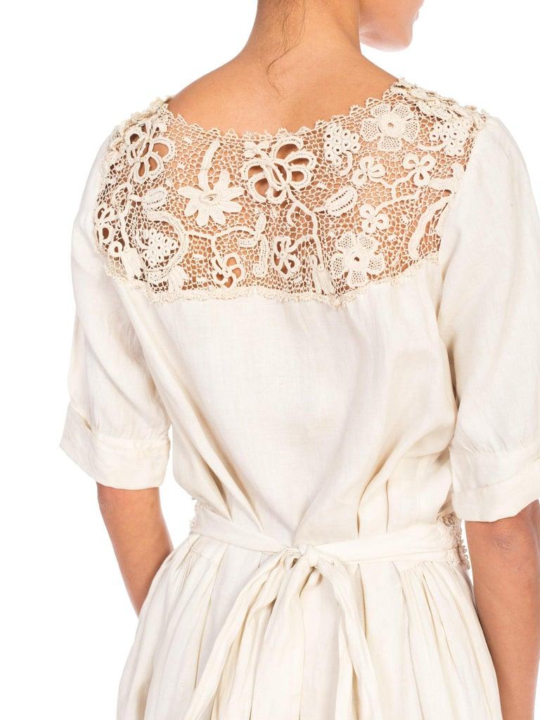 Edwardian Organic Linen Dress With Irish Crochet Lace For Sale 7