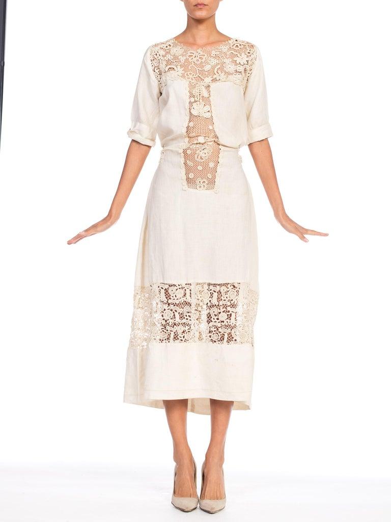 Edwardian Organic Linen Dress With Irish Crochet Lace For Sale 8