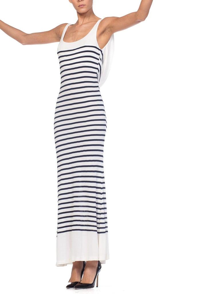 1990s Jean Paul Gaultier Nautical Striped Backless Jersey Dress For Sale 4
