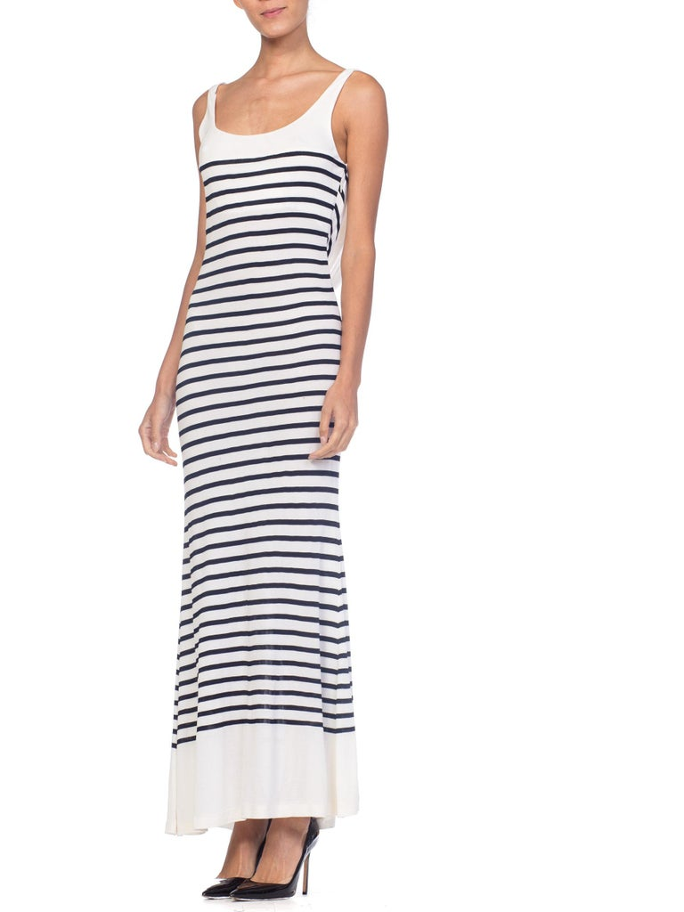 Gray 1990s Jean Paul Gaultier Nautical Striped Backless Jersey Dress For Sale